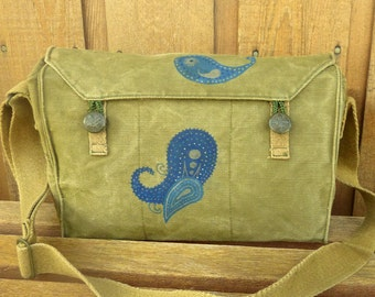 Paisley Pattern - Vintage Canvas Army Messenger Bag Purse - Hand Painted