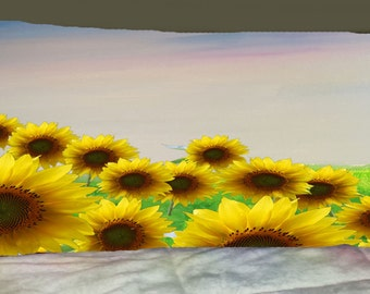 Floral field of sunflowers floral garden body pillow case from my art