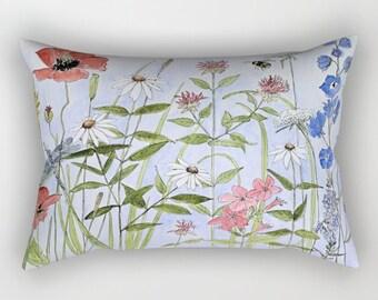 Wildflower Garden Throw Pillow Rectangular with insert