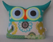 Gift/kids and baby /Aqua Owl pillow/Ready to ship(large size)