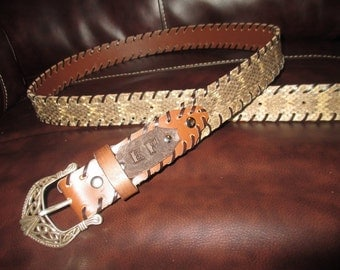 Big Mens XXXL Rattlesnake Skin Belt With or without Monogrammed Initials