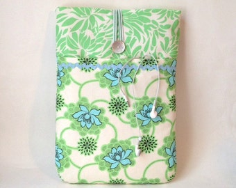 Green Macbook Air 13 Case, Laptop Case, Macbook Pro Retina Sleeve, Macbook Bag, Cover Pocket Mint Daisy Chain Floral Flower Pouch Sac