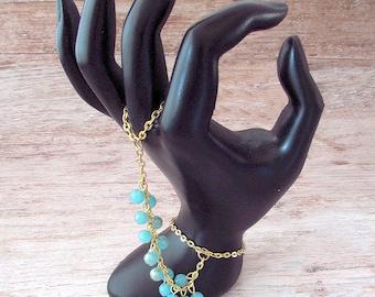 Bohemian Hand Bracelet - Boho Hand Chain - Boho Hand Jewelry - Gold Slave Bracelet -  Boho Slave Bracelet - Bohemian Slave Bracelet - Boho