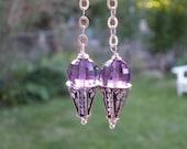 Genuine Amethyst Sterling Silver Gemstone Birthstone Dangle Earrings