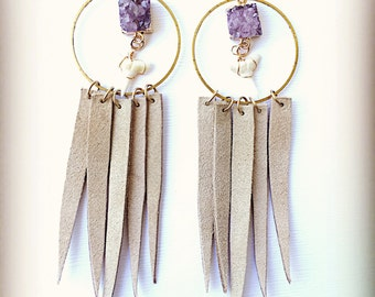 Amethyst Mermaid Dreamcatcher Earrings