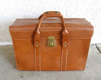 Vintage Brown Leather Attache / Doctors Bag with Travel Stickers. Circa 1950's.