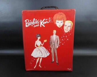 Vintage 1963 Barbie and Ken Doll Case by Ponytail in Red.