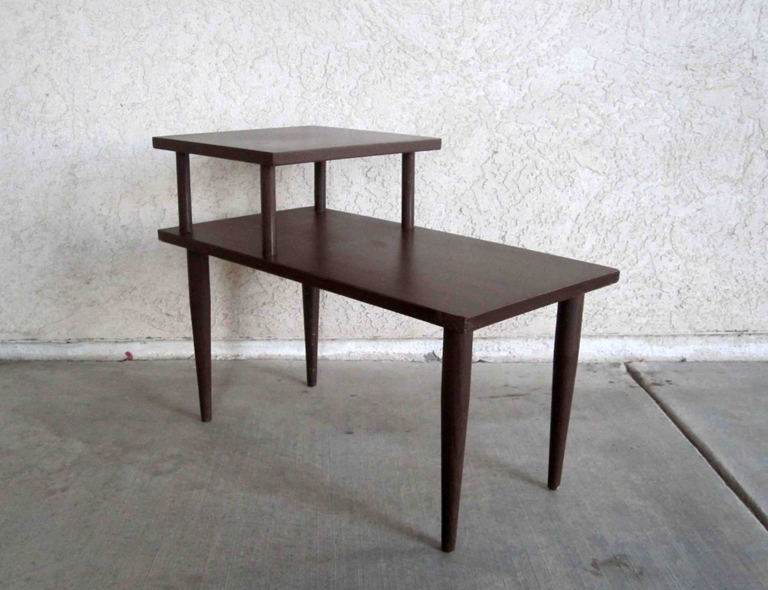 vintage mid century 2 tier side table in dark walnut finish. Black Bedroom Furniture Sets. Home Design Ideas