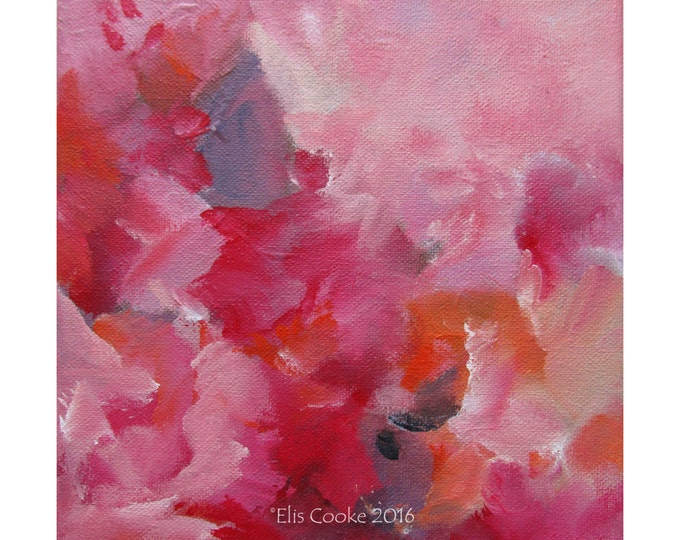 Abstract Expression Art Original Contemporary Painting red pink orange. Musing 126
