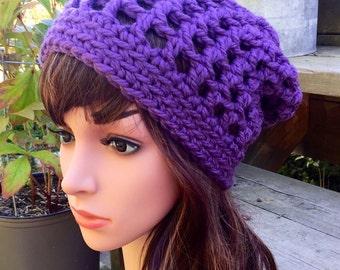 Wisteria Purple Super Bulky Warm Crochet Slouchy Hat