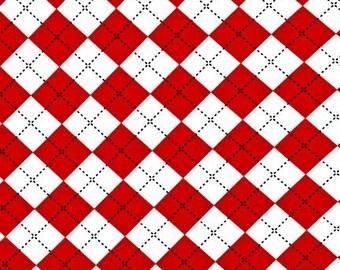 Remix Argyle Red Robert Kaufman Fabric, Choose your cut