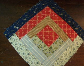 Antique Late 1800 Log Cabin Quilt Block ~  Lancaster County PA