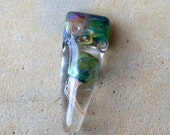 ValVaanaLampwork JELLYFISH Handmade Glass Lampwork Bead Horizontal Hole Silver Glass