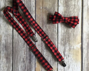 Little Boy Bow Tie and Suspender Set - Wedding Ring Bearer - First Birthday Photo Prop - Hipster Style - Red Black Lumberjack Buffalo Plaid