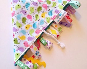 Sensory Blanket | Lap Blanket | Security Blanket | Tags | Rag with Tags | Birds in Spring Mini
