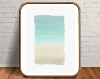 Turquoise Decor, Turquoise Watercolor Print, Ocean Watercolor Painting, Turquoise Art, Aqua Wall Art, Turquoise Wall Art, Teal Wall Art