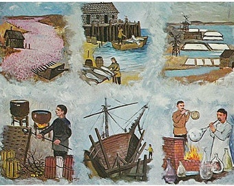 Vintage Cape Cod Postcard - Cape Cod Industries -- Artist Signed, Frank Milby (Unused)