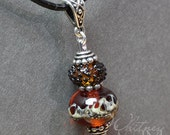 Ivory and Topaz Lampwork Bead Pendant with antique silver bail by Whitney Lassini