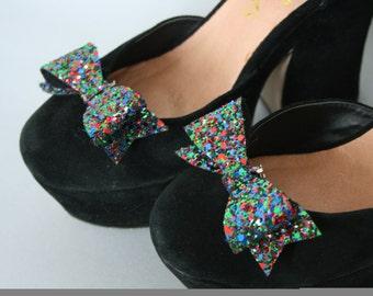 Multicolour Glitter shoe clips - fun shoe accessories - glitter bows - shoe accessory - Christmas shoes