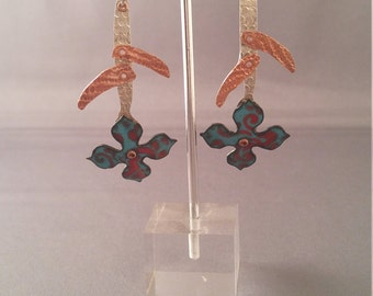 Whimsy Garden Earrings - Turquoise and Red Flowers