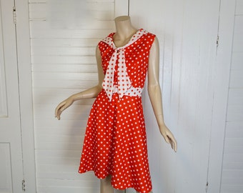 Mod Sailor Dress in Red & White Polka Dots- 1960s / 60s / 70s- Small / Medium