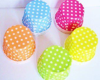 25  Polka Dots Candy Cups Assortment no pink, replaced with orange!
