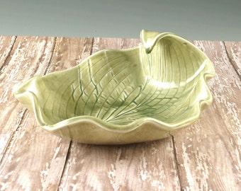 Decorative Pottery Leaf Bowl - Serving Bowl - Home Decor - Gift for Gardeners - Handmade by Botanic2Ceramic and Ready to Ship - 830