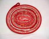 Country Red Coiled Fabric Table Mat, Candle Mat
