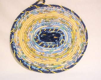 Handmade Yellow and Blue Coiled Fabric Candle Mat, Table Mat