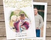 Photo Christmas Card Template: Gold Merry Christmas Custom Photo Holiday Card Printable, Brush Stroke, Hand Lettering, Faux Gold Foil