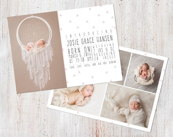 Birth Announcement Template, Birth Announcement Girl, Baby Announcement Template, Photography Templates, Photoshop Template, Digital, Josie