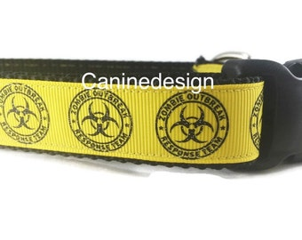 Dog Collar, Zombie Outbreak Response team, 1 inch wide, adjustable, quick release, metal buckle, chain, martingale, hybrid, nylon