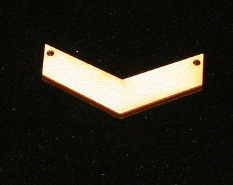 Unfinished Wood Chevron - 2 inches wide by 1-1/2 inches tall and 1/8 inch thick with 2 2mm holes wooden shape (CHEV09)