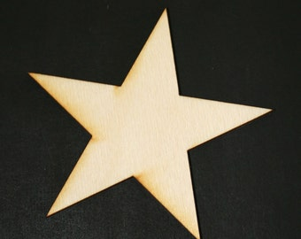 Unfinished Wood Star - 3 inches by 3 inches and 1/8 inch thick wooden shape (STAR01)