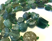 GREEN Ancient roman glass beads whole strand disks and pendant