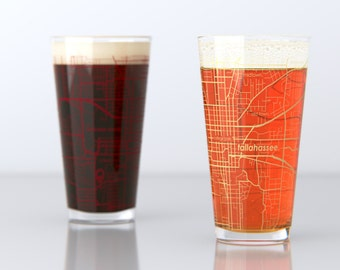 Tallahassee, FL - Florida State - College Town Pint Map Glasses