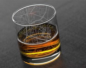 Chapel Hill - UNC - College Town Map Rocks Glass
