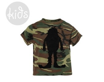 Hidden Bigfoot Tee - Crew Neck Short Sleeve Graphic Tshirt in Camoflage Green and Black of Night - Baby Kids & Youth