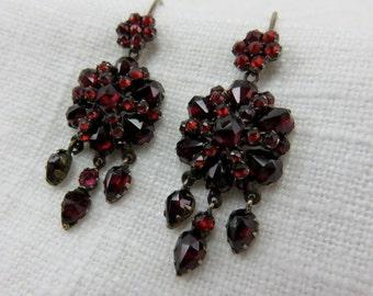 Circa 1890 Bohemian Garnet Earrings