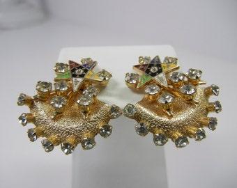 Eastern Star Screw Clip Earrings / rhinestone crystals / vintage earrings / clear stones / clip on / gold tone metal