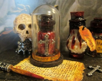 Vampire Blood domed potion dollhouse miniature, Vlad, vampire, Dracula, spooky, skull, Halloween, haunted in 1/12 scale