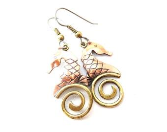 Whimsical Handmade Vintage Signed Chris Anderson Copper & Bronze Mixed Metal Sea Horse Pierced Dangle Earrings