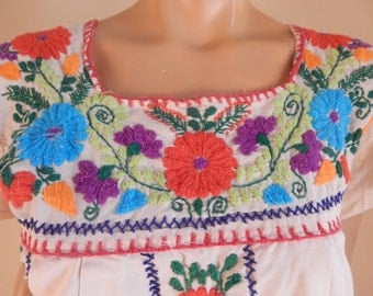 vintage embroidered dress, mexican dress, cotton dress