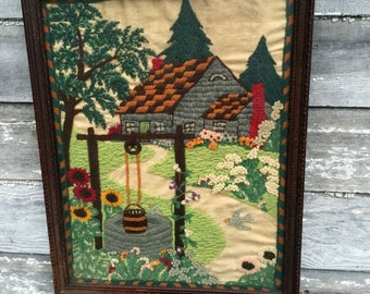Antique Crewel Embroidery Picture Cottage gaden with Wishing Well