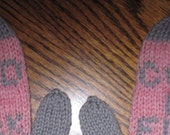 Mature Mittens Cold as F**K Hand Knit Wool Mittens Pink Heather and Gray Wms Size Free US Shipping!