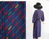 25% OFF 1980s Graphic Print Day Dress / 80s Secretary Dress / New Wave Geometric Print / Blouson Shirt Dress / Midi Dress / Extra Large / Pl