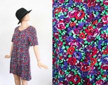 Vintage 90s Romper / Floral Rayon Mini Dress / Grunge Onesie / 1990s Revival Jumper / Summer Shorts / Festival Fashion / Large