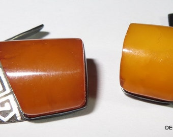 Butterscotch Amber Russia 875 Silver Cufflinks Cuff Links Chain Link