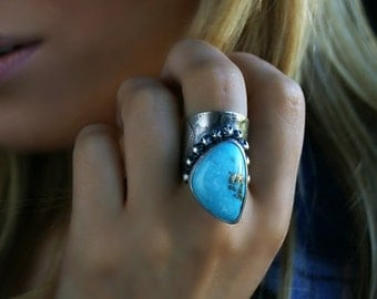 RESERVED - The Beyond is Blue - Turquoise Sterling Silver Ring