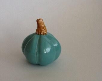 Turquoise Blue Ceramic Pumpkin Autumn Table Decoration